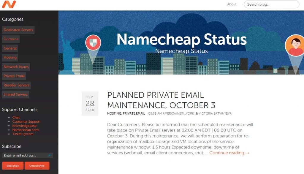Namecheap status page is comprehensive.